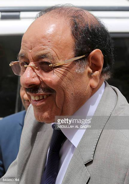 Yemeni Vice President General Ali Mohsen alAhmar attends a meeting with army commanders and local officials during a surprise visit with the Yemeni...
