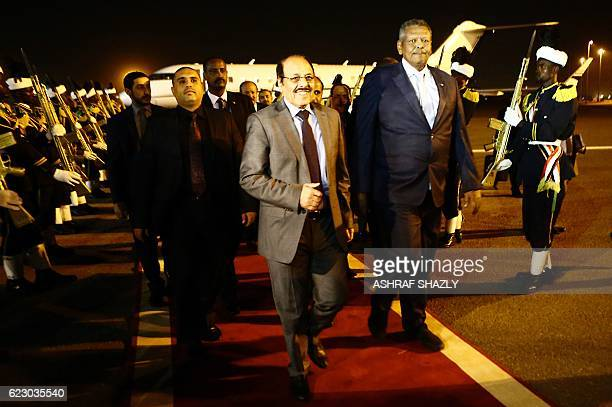 Yemeni Vice President General Ali Mohsen alAhmar is welcomed by his Sudanese counterpart Bakri Hassan Saleh following his arrival at Khartoum airport...