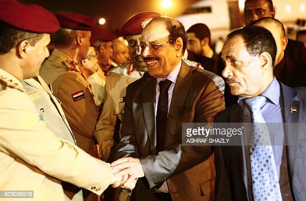 Yemeni Vice President General Ali Mohsen alAhmar is welcomed following his arrival at Khartoum airport on November 13 2016 / AFP / ASHRAF SHAZLY