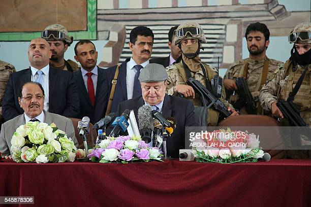 Yemeni Vice President General Ali Mohsen alAhmar listens on as Yemeni President Abedrabbo Mansour Hadi delivers a speech to army commanders and local...