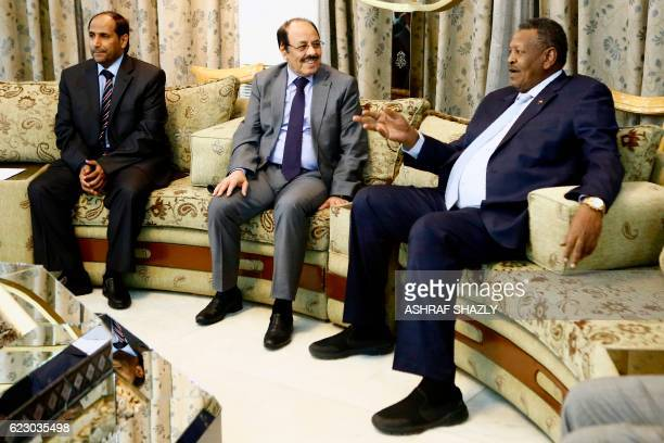 Yemeni Vice President General Ali Mohsen alAhmar meets with his Sudanese counterpart Bakri Hassan Saleh following his arrival at Khartoum airport on...