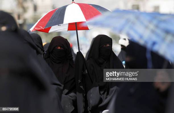 Yemeni women take part in a protest against the war in front of the Saudi embassy in the capital Sanaa on March 18 2017 / AFP PHOTO / MOHAMMED HUWAIS