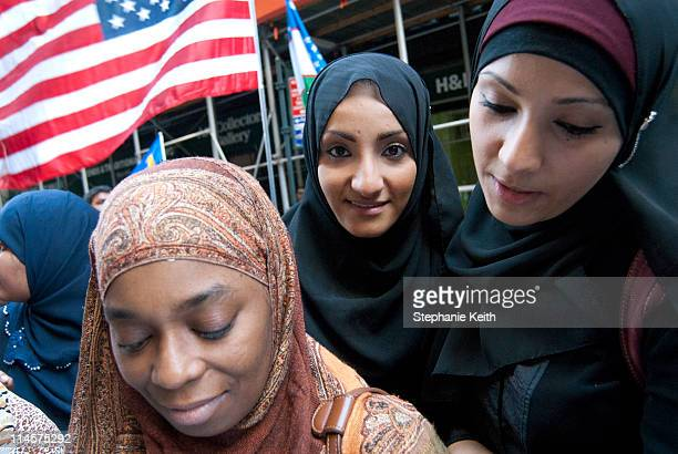 Yemeni-American girl with her friends at the 19th Annual Muslim Parade on Madison Ave., NY, NY on October 12, 2008.