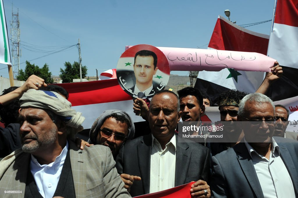 Yemenis protest against U.S. allied missile strikes against Syria outside the Syrian embassy on April 16, 2018 in Sana'a, Yemen. The U.S., Great Britain and France launched missile strikes in response to the Syrian goverment using chemical weapons against its own population.