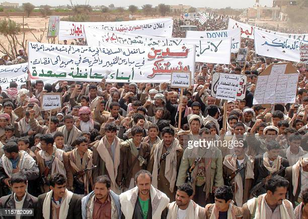 Yemenis protest in the streets of province of Saada on March 19 a day after some 52 people were killed in the Yemeni capital Sanaa making it the...