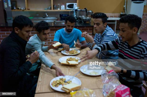 Yemenis refugee applicants are eating bread and omelette only for dinner at the hotel restaurant in Jeju Island South Korea on June 28 2018 With the...