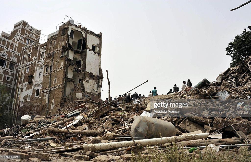 Saudi-led airstrikes hit Yemen's capital : News Photo
