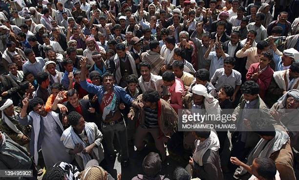 Yemenis shout slogans as they demand the prosecution of Yemen's President Ali Abdullah Saleh in Sanaa on February 22 a day after elections which saw...