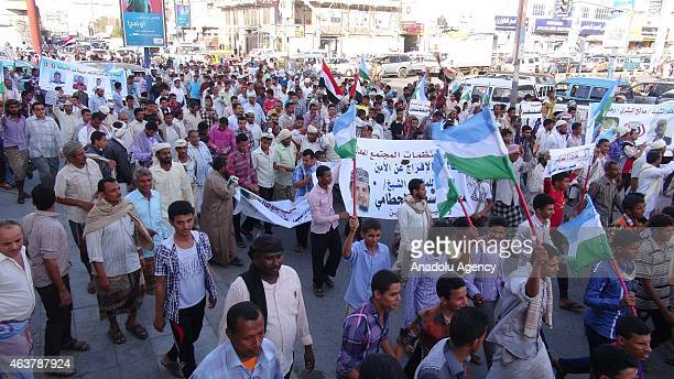 Yemenis stage a protest against Shiite Houthi rebels' taking control of the government and occupying the Yemeni cities on February 18 2015 in Al...