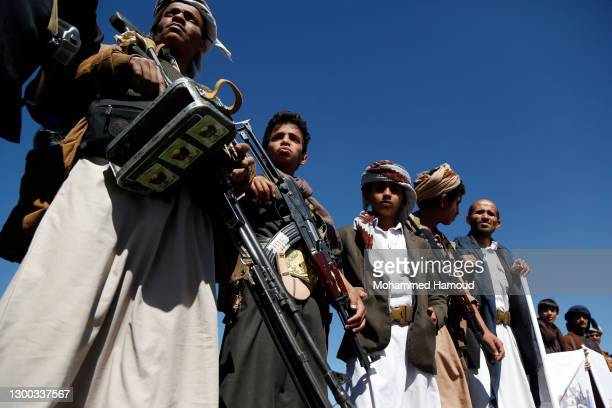 Yemen's Houthi supporters take part in a gathering to donate for fighters who fight against forces of the government of Abd Rabbu Mansour Hadi, on...