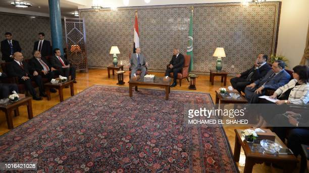 Yemen's internationally recognised government President Abedrabbo Mansour Hadi meets with the Arab League SecretaryGeneral Ahmed Aboul Gheit at the...