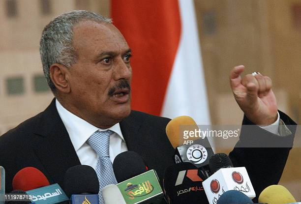 Yemen's President Ali Abdullah Saleh addresses a news conference in Sanaa on February 21 2011 Saleh in power since 1978 said that only defeat at the...