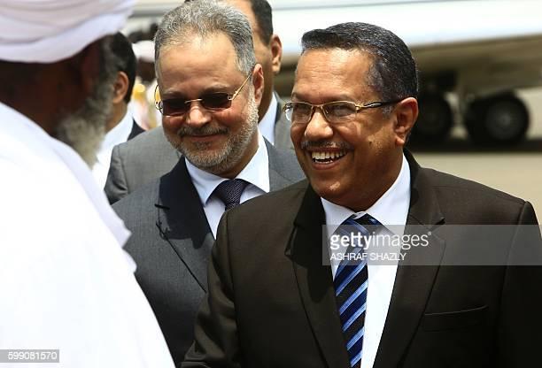 Yemen's Prime Minister Ahmed bin Dagher disembarks from a plane as he arrives to the Sudanese capital Khartoum on September 4 2016 / AFP / ASHRAF...