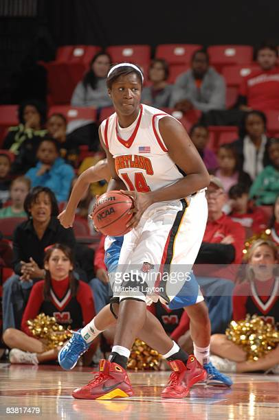 Yemi Oyefuwa of the Maryland Terrapins looks to play the ball during a womens college basketball game against the UCLA Bruins on Novmeber 23, 2008 at...