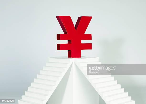 Yen balancing on plinth