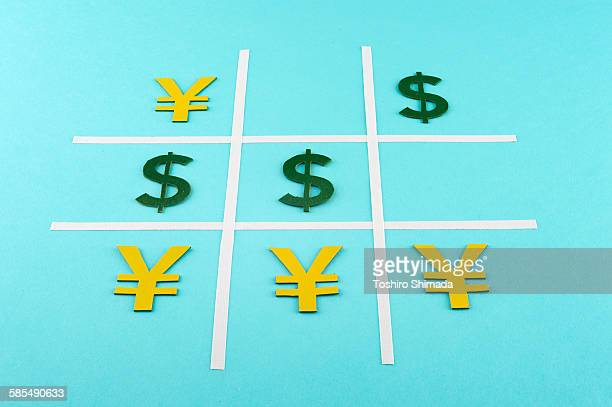 Yen defeats dollar in tic-tac-toe