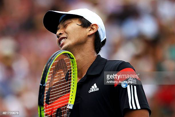 Yen Hsun Lu of Taiwan reacts to a point in the singles final against John Isner of United States during day six of the Heineken Open at ASB Tennis...