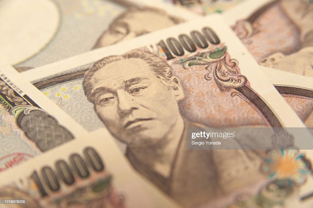 10,000 Yen Note - Close-up on face on ten thousand yen banknote (front). : Stock Photo