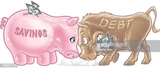 Yen Vang color illustration of a headtohead battle between piggy bank with savings and warthog of debt