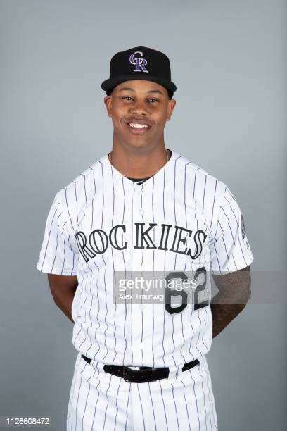 Yency Almonte of the Colorado Rockies poses during Photo Day on Wednesday February 20 2019 at Salt River Fields at Talking Stick in Scottsdale Arizona