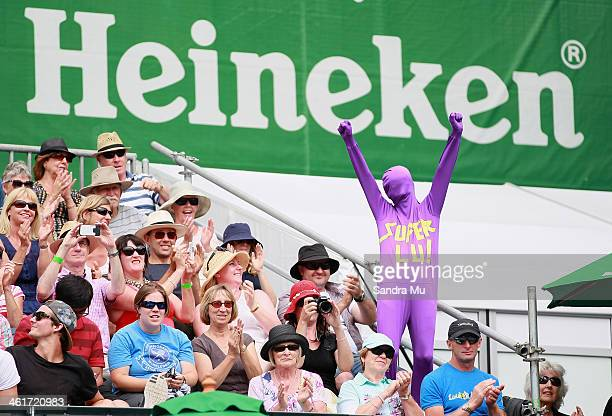 YenHsun Lu fan celebrates during the final match against John Isner of the USA and YenHsun Lu of Chinese Tapei on day six of the Heineken Open at the...