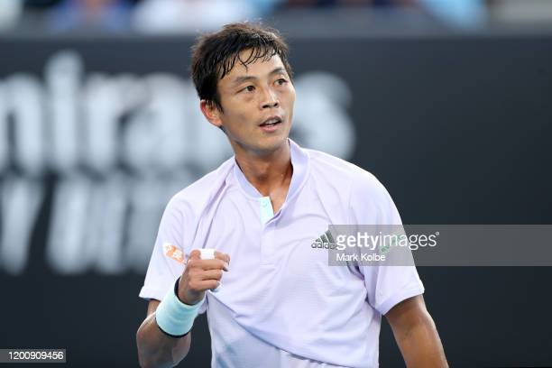 Yen-Hsun Lu of Chinese Taipei celebrates a point during his Men's Singles first round match against Gael Monfils of France on day two of the 2020...