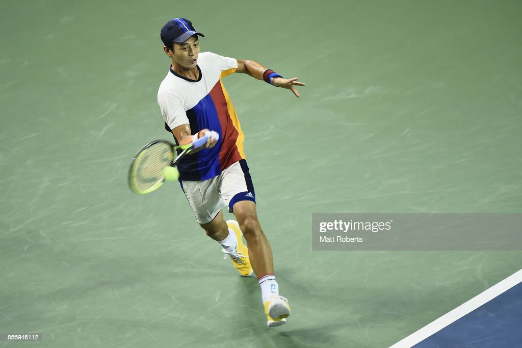Yen-Hsun Lu of Chinese Taipei plays a forehand against Taro Daniel of Japan during day two of the Rakuten Open at Ariake Coliseum on October 3, 2017 in Tokyo, Japan.