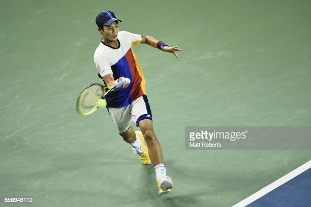 Yen-Hsun Lu of Chinese Taipei plays a forehand against Taro Daniel of Japan during day two of the Rakuten Open at Ariake Coliseum on October 3, 2017...