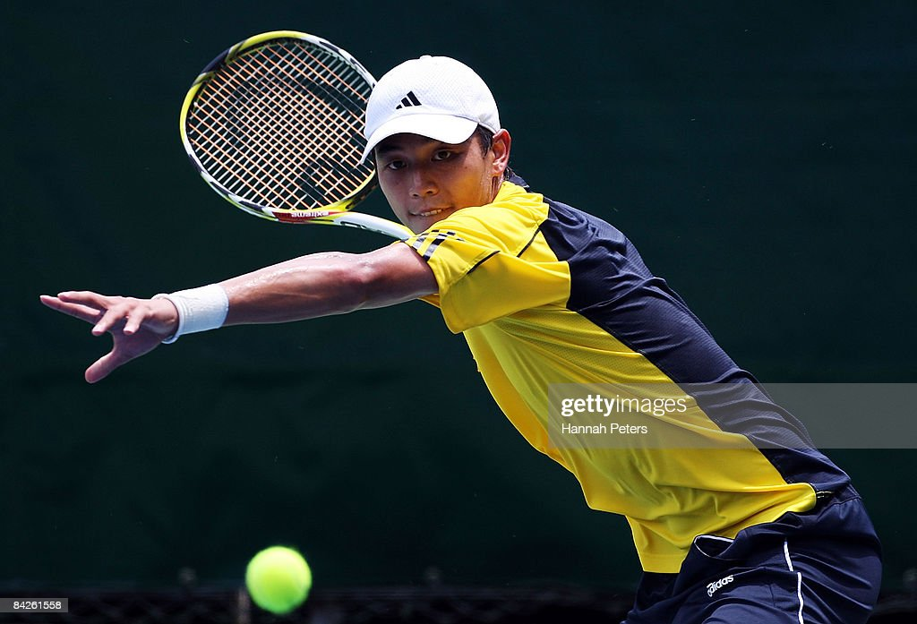 Yen-Hsun Lu of Chinese Taipei plays a forehand in his match against Steve Darcis of Belgium during day two of the Heineken Open at ASB Tennis Centre on January 13, 2009 in Auckland, New Zealand.