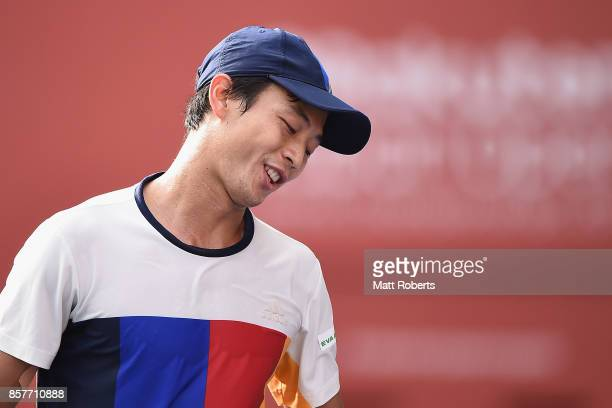 Yen-Hsun Lu of Chinese Taipei reacts in his match against Richard Gasquet of France during day four of the Rakuten Open at Ariake Coliseum on October...