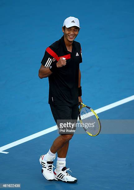Yen-Hsun Lu of Chinese Tapei celebrates his semi final win against David Ferrer of Spain during day five of the Heineken Open at the ASB Tennis...