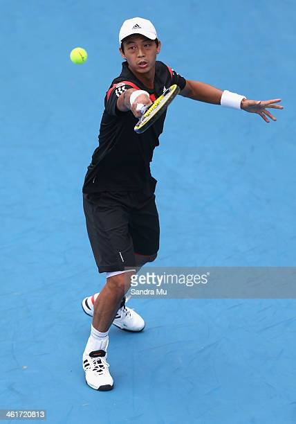 YenHsun Lu of Chinese Tapei plays a backhand during his finals match against John Isner of the USA on day six of the Heineken Open at the ASB Tennis...