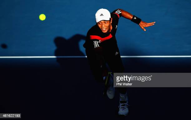 Yen-Hsun Lu of Chinese Tapei plays a backhand during his semi final match against David Ferrer of Spain during day five of the Heineken Open at the...