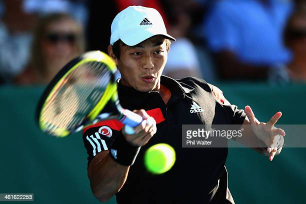 Yen-Hsun Lu of Chinese Tapei plays a forehand during his semi final match against David Ferrer of Spain during day five of the Heineken Open at the...
