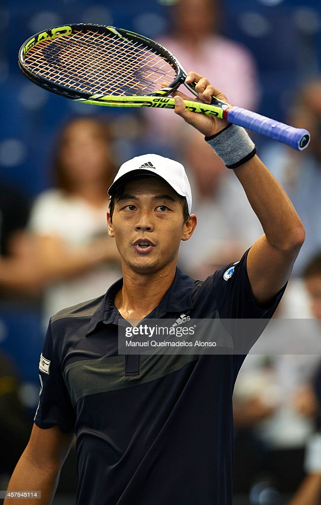 Yen-Hsun Lu of Taipei celebrates winning his match against Guillermo Garcia-Lopez of Spain during day one of the ATP 500 World Tour Valencia Open tennis tournament at the Ciudad de las Artes y las Ciencias on October 20, 2014 in Valencia, Spain.