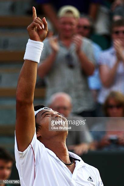 Yen-Hsun Lu of Taipei reacts after winning his match against Andy Roddick of USA on Day Seven of the Wimbledon Lawn Tennis Championships at the All...