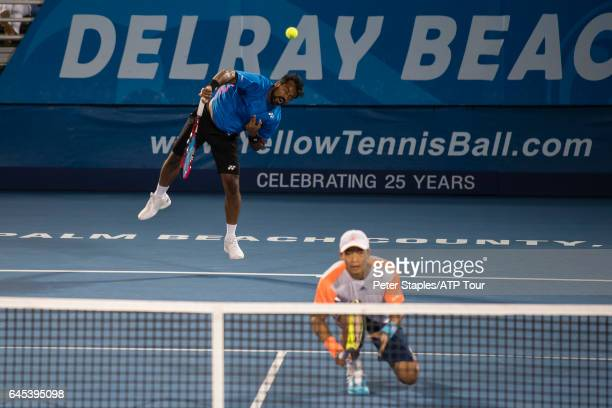 YenHsun Lu of Taiwan and Leander Paes of India in doubles action losing toTreat Huey of Philippines and Max Mirnyi of Belarus at the Delray Beach...