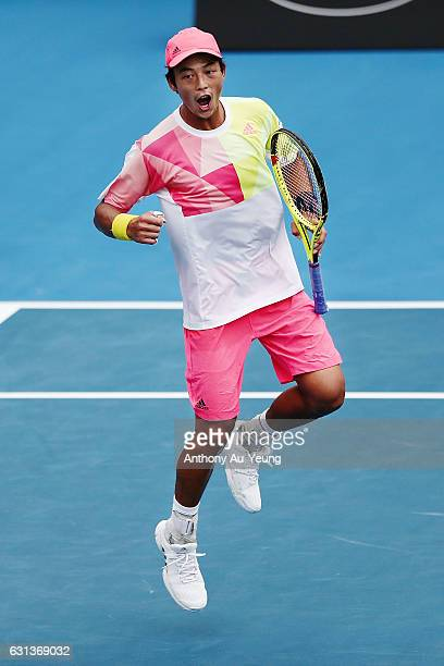 Yen-Hsun Lu of Taiwan celebrates after winning his match against Karen Khachanov of Russia on day nine of the ASB Classic on January 10, 2017 in...