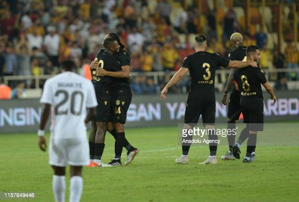 Yeni Malatyaspor team celebrate a goal during the UEFA Europa League second qualifying match between Yeni Malatyaspor and Olimpija Ljubljana at the...