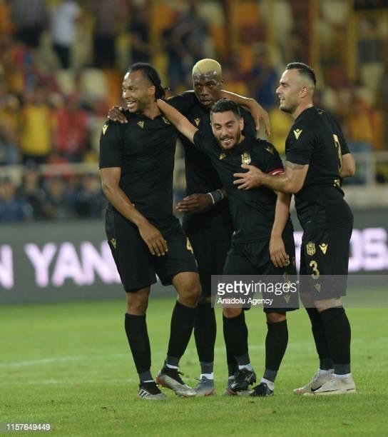 Yeni Malatyaspor team celebrate a goal during the UEFA Europa League second qualifying match between Yeni Malatyaspor and Olimpija Ljubljana at the...