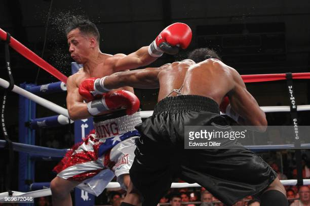Yenifel Vicente lands a left hand against Jorge Diaz at the South Mountain Arena in South Orange NJ on June 14 2013 Vicente would win by tko in the...