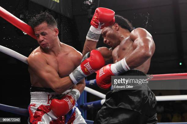 Yenifel Vicente lands a right hand against Jorge Diaz at the South Mountain Arena in South Orange NJ on June 14 2013 Vicente would win by tko in the...