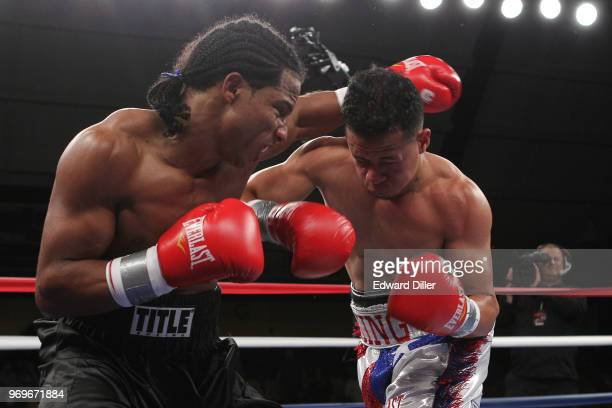 Yenifel Vicente throws a left hand against Jorge Diaz at the South Mountain Arena in South Orange NJ on June 14 2013 Vicente would win by tko in the...