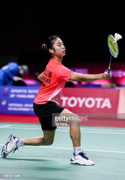 Yeo Jia Min of Singapore competes in the Women's Singles second round match against An Se Young of Korea on day three of the Toyota Thailand Open on...