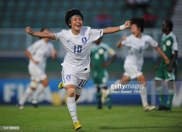 Yeo Min Ji of South Korea celebrates after scoring in extra time during the FIFA U17 Women's World Cup Quarter Final match between Nigeria and South...