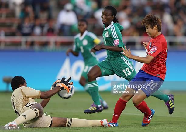 Yeo Minji of Korean Republic takes a shot at goal during the FIFA U-20 Women's World Cup Japan 2012, Group B match between Nigeria v Korean Republic...