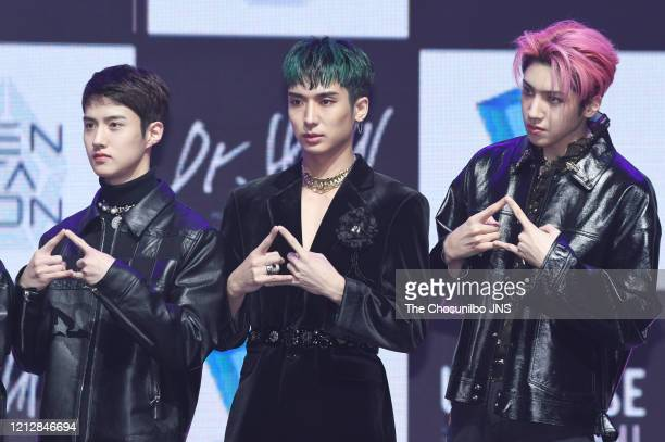 Yeo Won, Yuto, and Wooseok of Pentagon perform during the showcase event for Pentagon's new album 'UNIVERSE : THE BLACK HALL' release at Yes24 Live...
