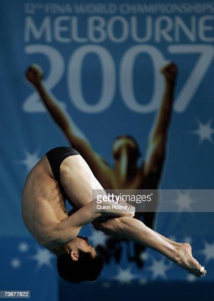 Yeoh Ken Nee of Malaysia competes in the Men's 3m Springboard Semifinal event during the XII FINA World Championships at the Melbourne Sports and...