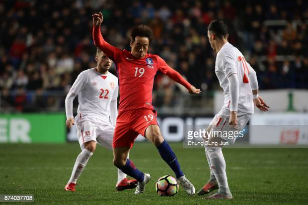 Yeom KiHun of South Korea controls the ball during the international friendly match between South Korea and Serbia at Ulsan World Cup Stadium on...