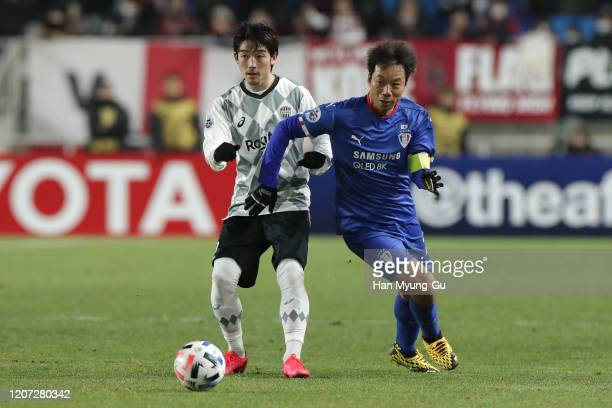Yeom Ki-Hun of Suwon Samsung Bluewings in action during the AFC Champions League Group G match between Suwon Samsung Bluewings and Vissel Kobe at the...